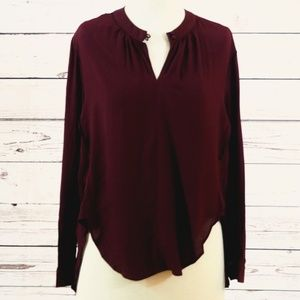 Chicwish - Maroon hi-lo popover blouse- Size Med